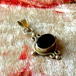 Silver and Black Necklace Pendant Vintage